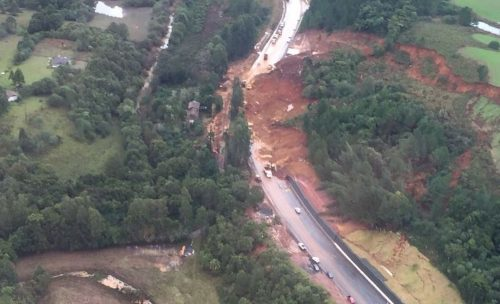 BR-282 tem interrupção total em São José do Cerrito, na Serra catarinense (Foto PMSC)