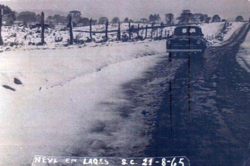 Neve em Lages em agosto de 1965, dois anos antes da grande nevasca registrada em São Joaquim