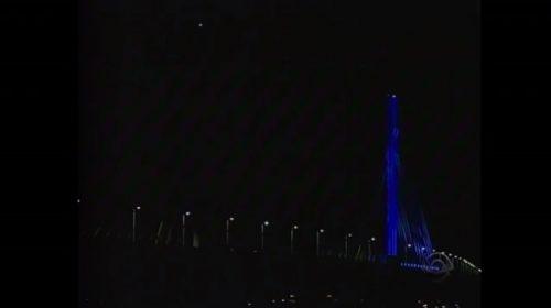 Ponte Anita Garialdi, em Laguna, às escuras
