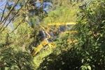Ônibus escolar de Urussanga quebra barra da direção e fica pendura em árvores na SC-1082