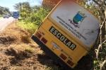 Ônibus escolar de Urussanga quebra barra da direção e fica pendura em árvores na SC-1087