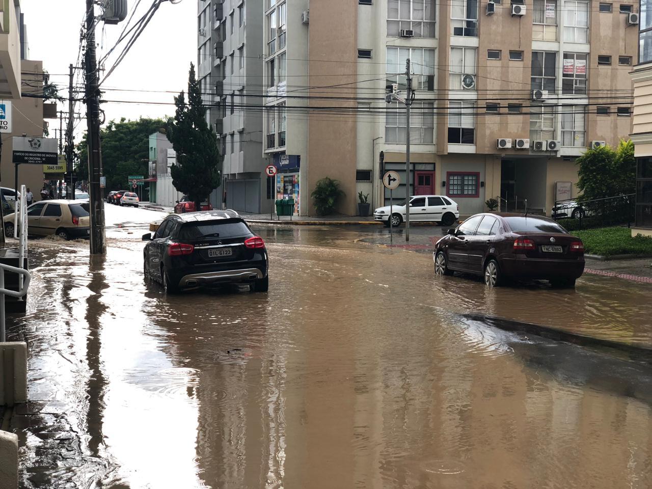 Chuva forte deixa ruas alagadas em Criciúma3