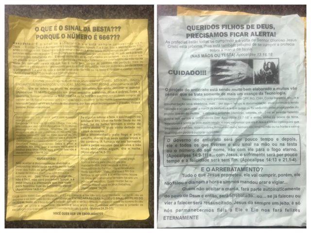 Panfletos com mensagens apocalípticas e fake news são distribuídos em Orleans