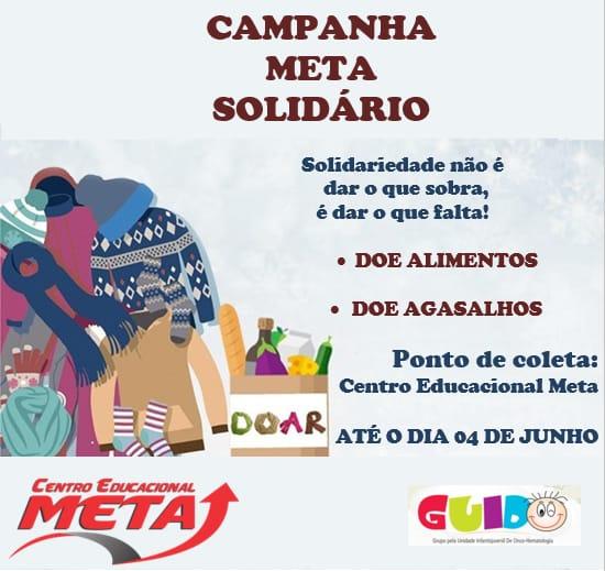 Centro Educacional Meta arrecada doações em prol da Casa Guido, que atende crianças e adolescentes com câncer