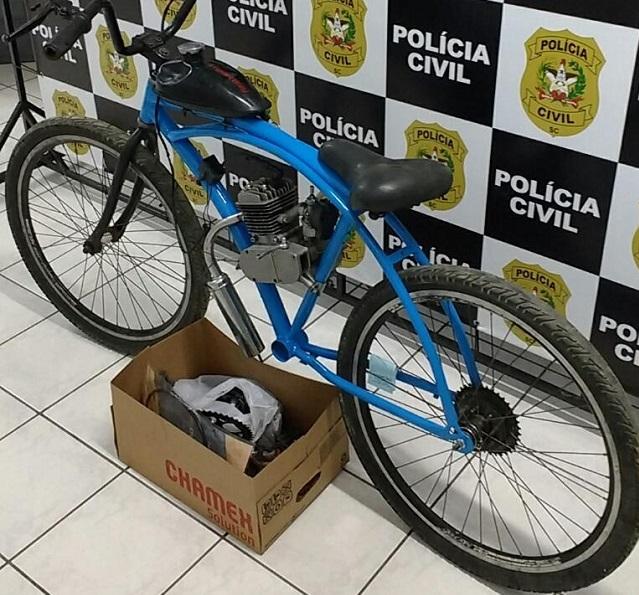 Polícia Civil de Orleans recupera bicicleta motorizada furtada no centro da cidade