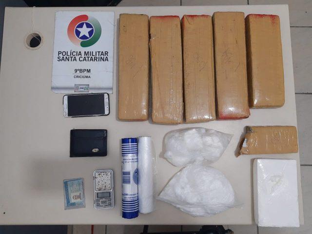 PM de Criciúma apreende seis quilos de maconha e um mais de um quilo de cocaína